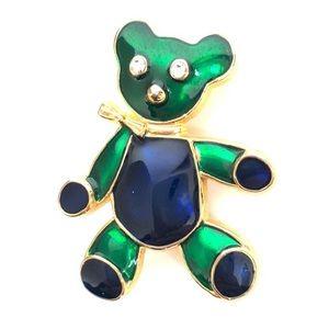 Vintage Teddy Bear Enamel Crystal Pin Brooch